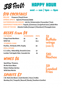 38 South Happy Hour Menu